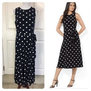 Ralph Lauren Sleeveless A-line Polka-dot Dress